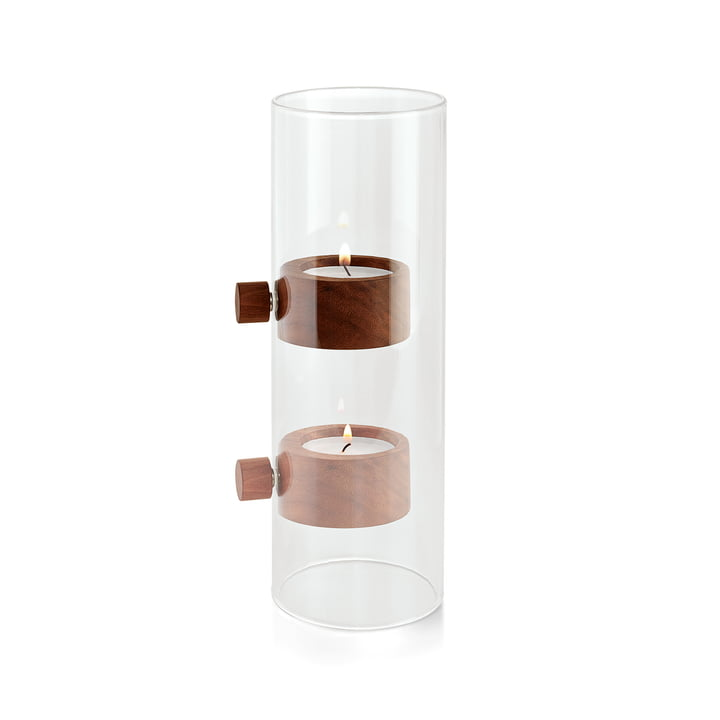 Lift Tealight holder Ø 7 cm in walnut