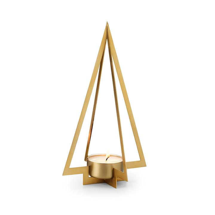 The Navidad Fir tree tealight holder S from Philippi , matt gold