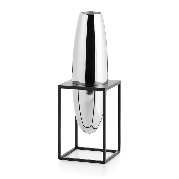 Solero Vase S in stand from Philippi in silver / black