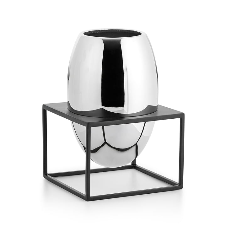 Solero Vase L in stand from Philippi in silver / black