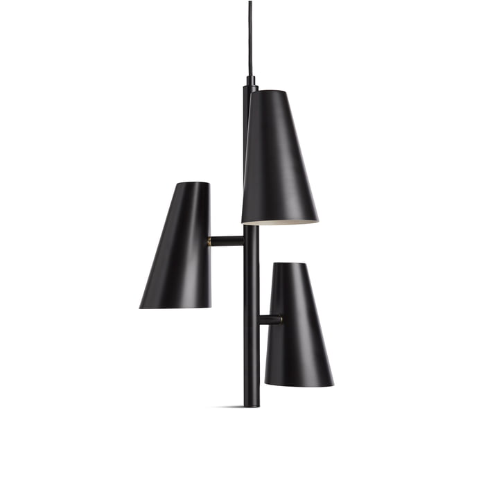 Cono Pendant lamp with 3 shades from Woud in black