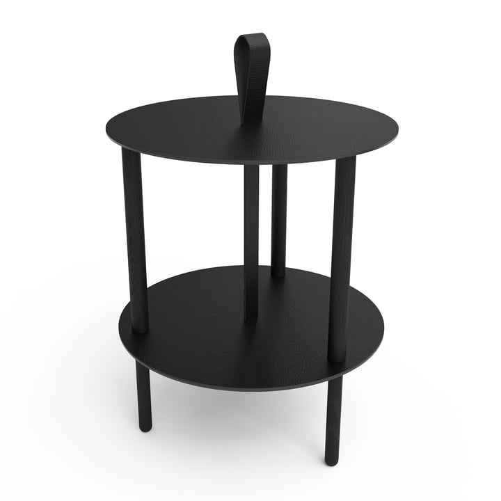 Strap Side table Ø 38 x H 46 cm from LindDNA in black oak / bull black