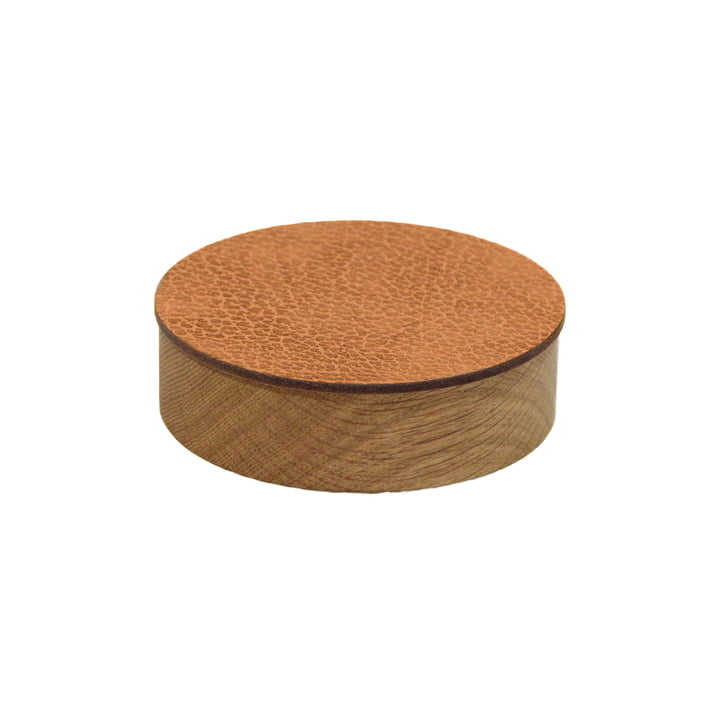 Wood Box with lid round S Ø 11 cm from LindDNA in oak nature / nature