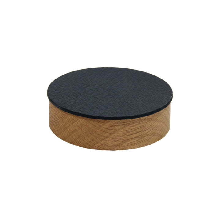 Wood Box with lid round S Ø 11 cm from LindDNA in natural oak / black