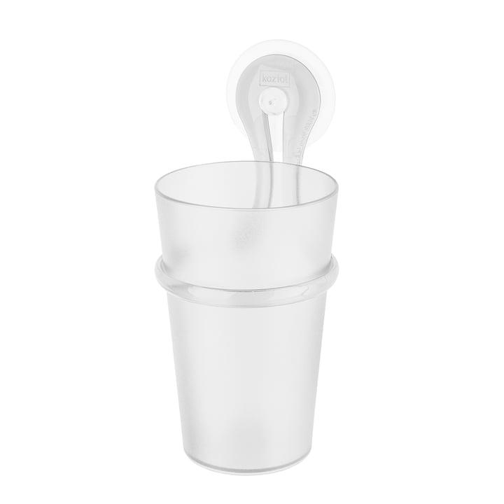 Toothbrush mug Loop from Koziol in crystal clear