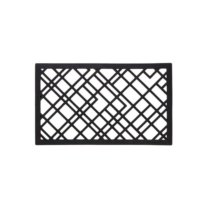 Rubber doormat 45 x 75 cm from tica copenhagen in lines / black