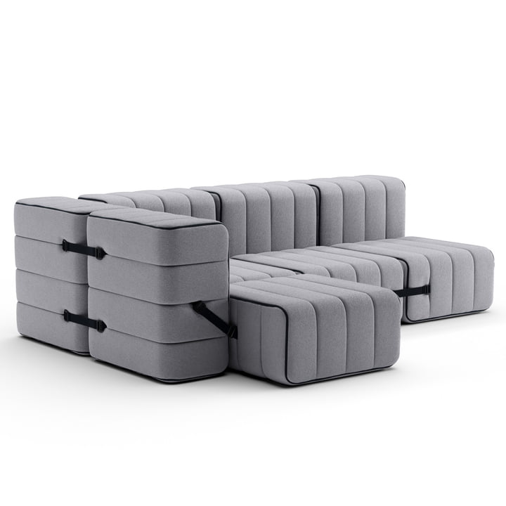 Curt Sofa Set 9 from Ambivalenz in the colour grey (Jet - 9803)