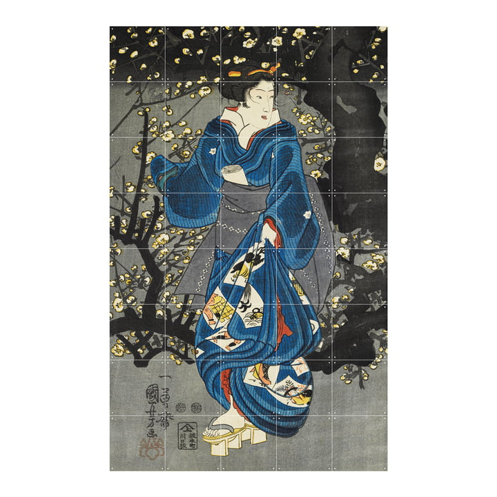 Woman by a plum tree of light Mural from IXXI in size 100 x 160 cm