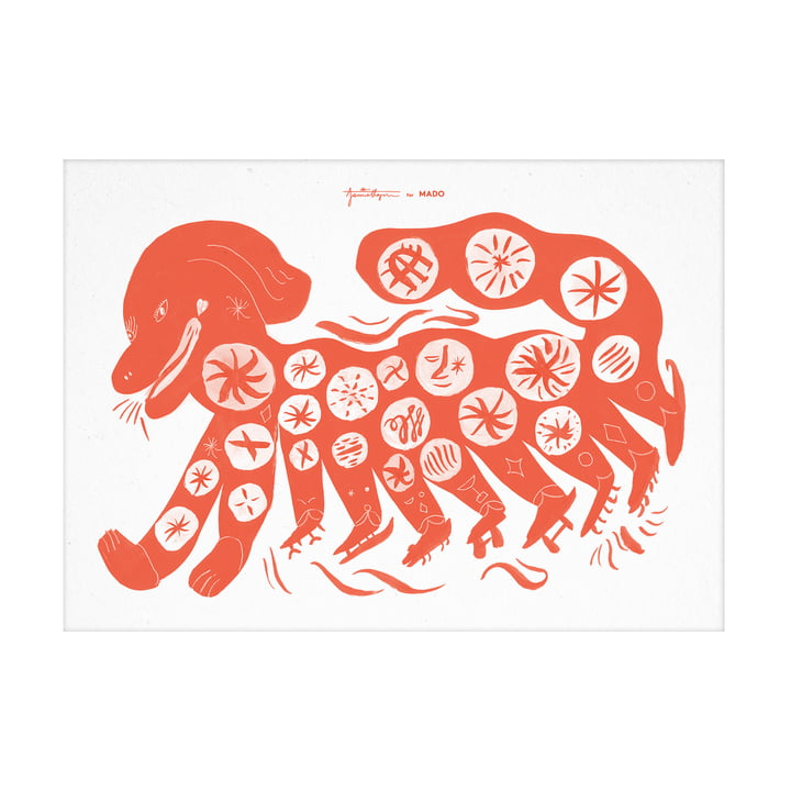The Chinese Dog poster from Paper Collective , 50 x 70 cm, red
