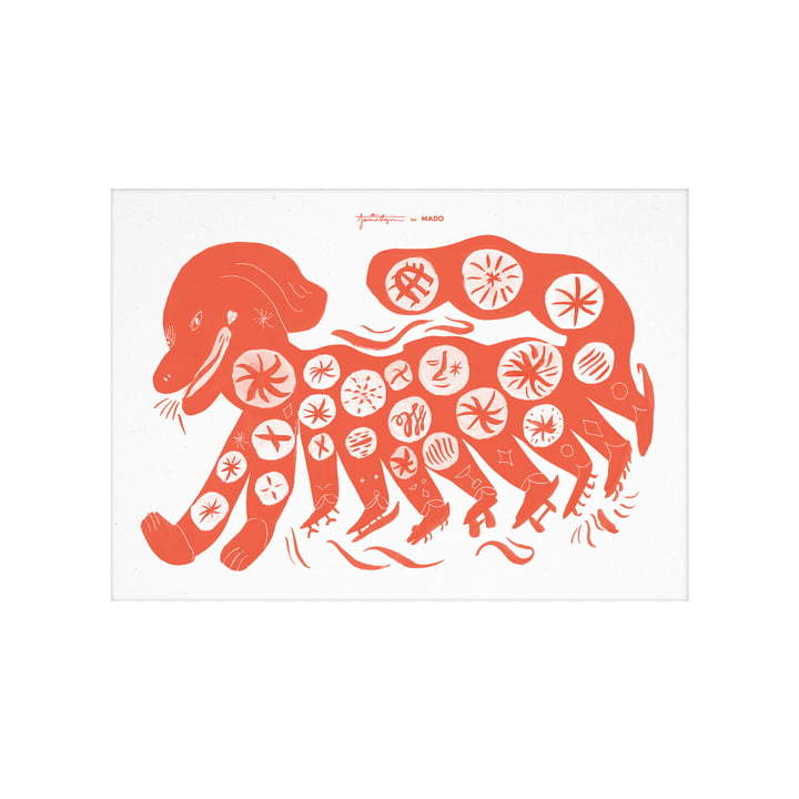 The Chinese Dog poster from Paper Collective , 30 x 40 cm, red