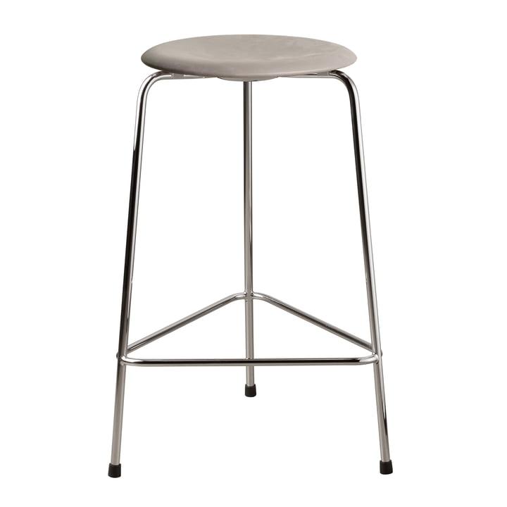 The Dot bar stool from Fritz Hansen , H 65 cm, leather lava grey / base chrome
