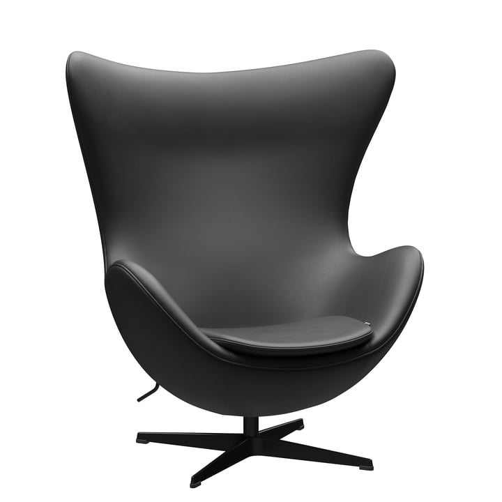 The Egg Chair from Fritz Hansen , black / Essential leather black