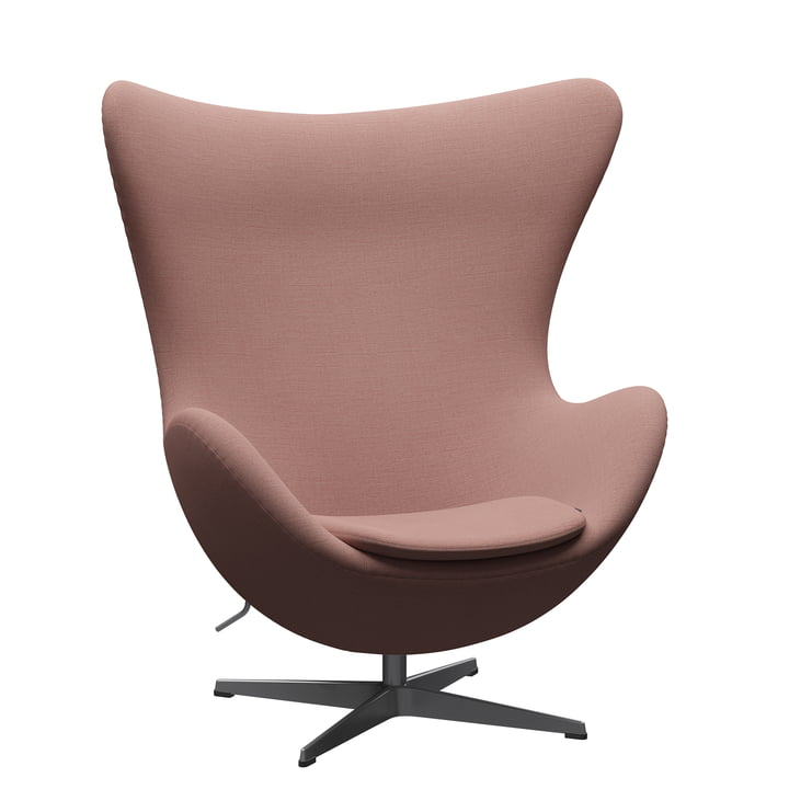 The Egg Chair from Fritz Hansen , silver grey / Christianshavn 1131 orange red