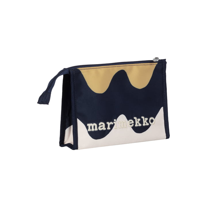 The Hipaus Pikku Lokki cosmetic bag by Marimekko, 19 x 13 x 4 cm, dark blue / beige