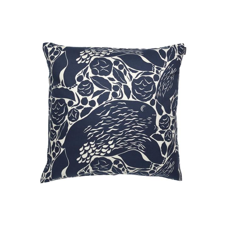 The Pieni Karhuemo pillowcase from Marimekko , 50 x 50 cm, light beige / dark blue (autumn 2021)