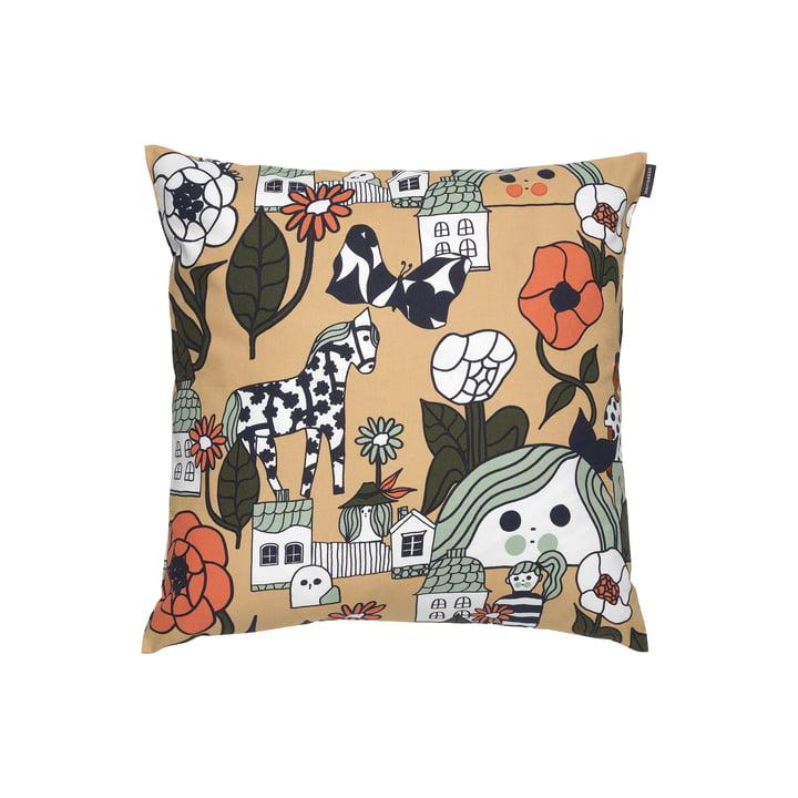 The Marikylä cushion cover by Marimekko, 45 x 45 cm, beige / green / orange (autumn 2021)