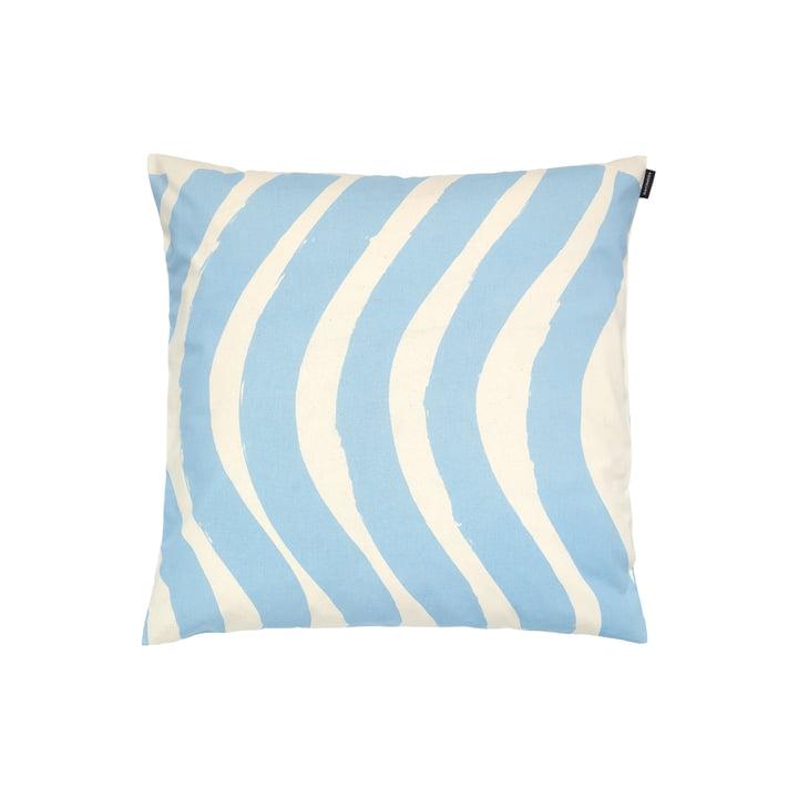 The Silkkikuikka pillowcase by Marimekko, 50 x 50 cm, cotton white / indigo (autumn 2021)