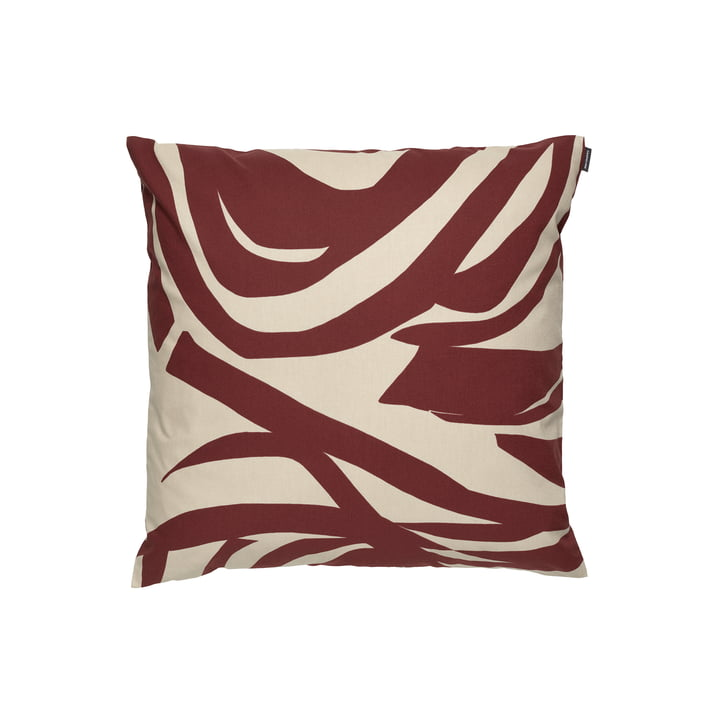 The Jokuraita pillowcase by Marimekko, 50 x 50 cm, beige / brown (autumn 2021)