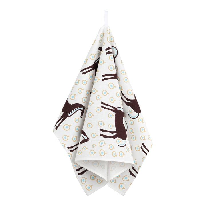 The Musta Tamma tea towel by Marimekko, white / dark brown / light blue (autumn 2021)