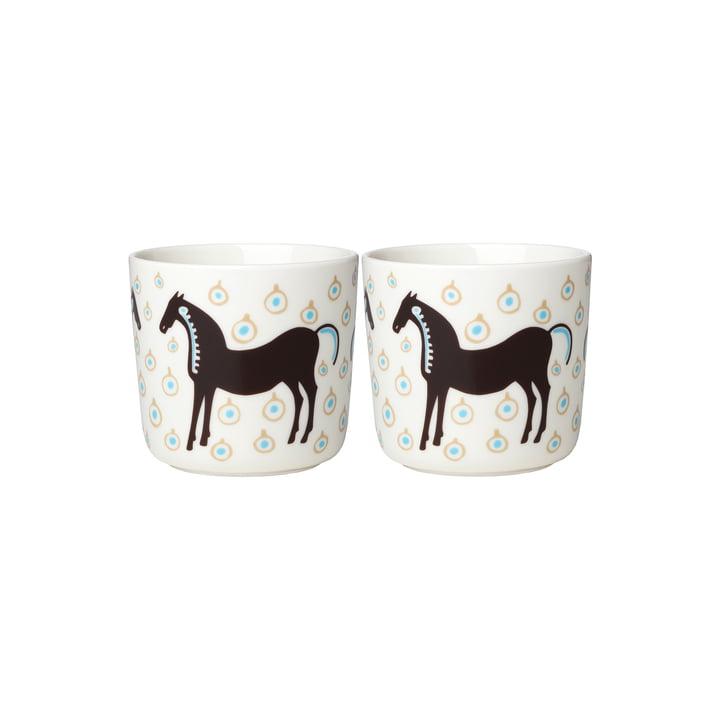 The Musta Tamma mug (set of 2) by Marimekko, 200 ml, white / dark brown / beige (autumn 2021)