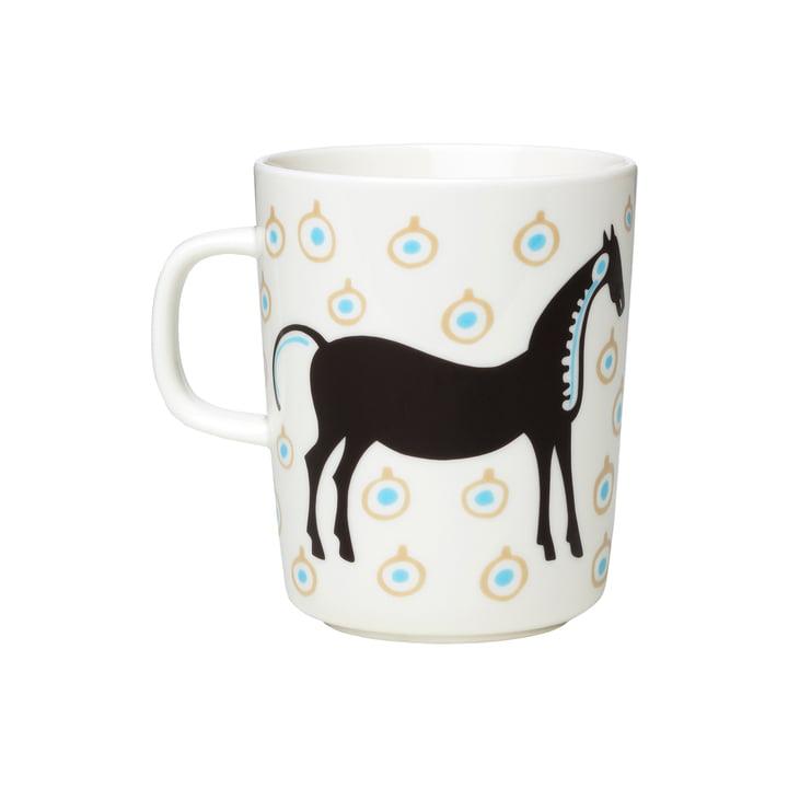 The Musta Tamma mug with handle by Marimekko, 250 ml, white / dark brown / beige (autumn 2021)