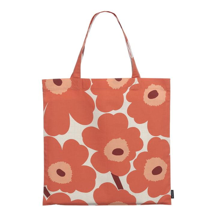The Pieni Unikko Marimekko shopping bag, linen / orange / burgundy (autumn 2021)