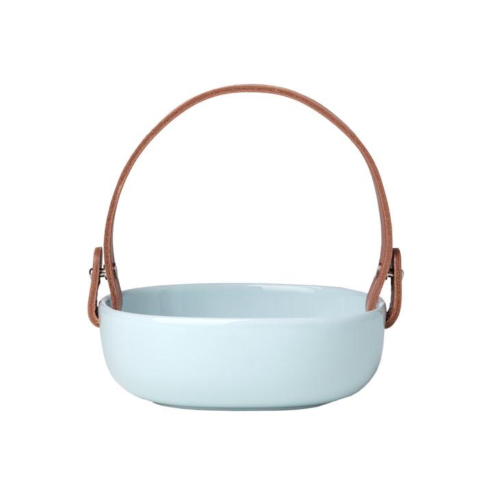 The Oiva Serving bowl with leather handle by Marimekko, 1 2. 5 x 1 3. 5 cm, aqua / cognac (autumn 2021)