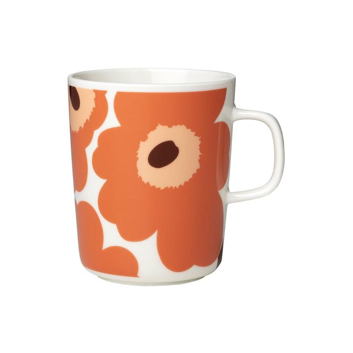 Marimekko - Oiva Unikko Mug with handle 250 ml, white / apricot / dark brown (autumn 2021)