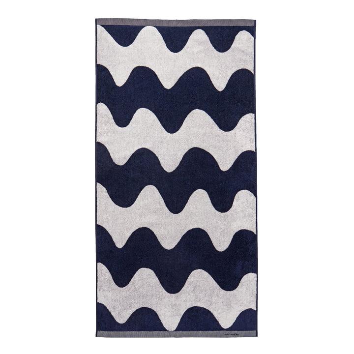 The Lokki bath towel by Marimekko, 70 x 140 cm, off-white / dark blue