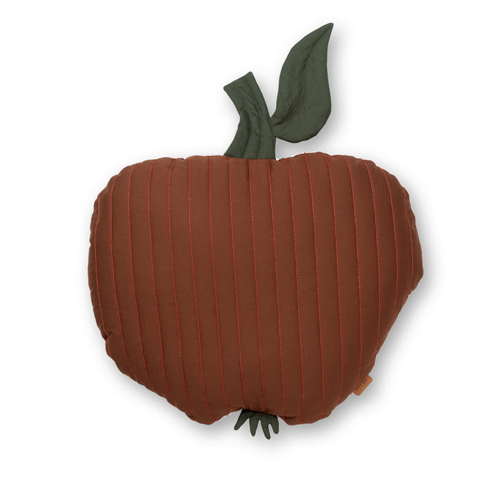 Apple children's cushion 45 x 49 cm by ferm Living in cinnamon red