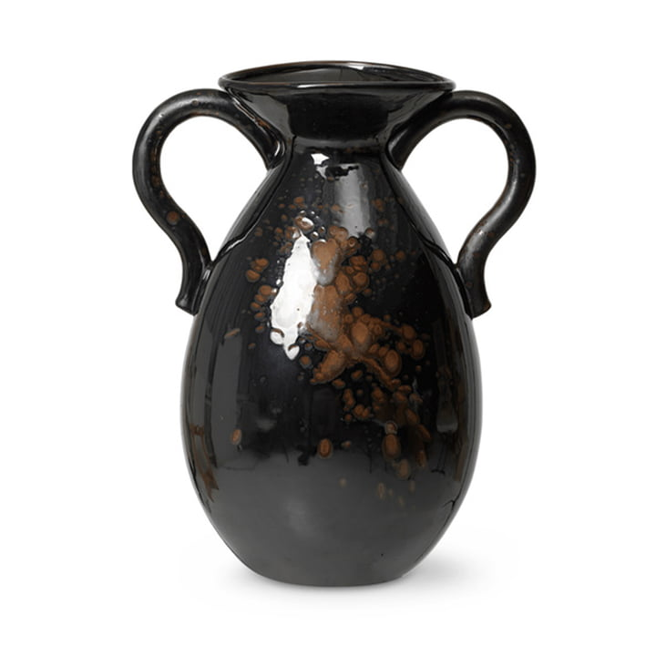 Verso Floor vase H 49 cm by ferm Living in black / brown