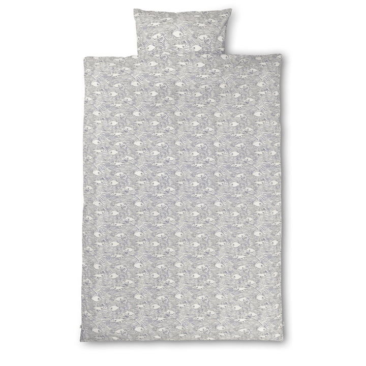 Stream Bed linen 140 x 200 cm by ferm Living in off-white