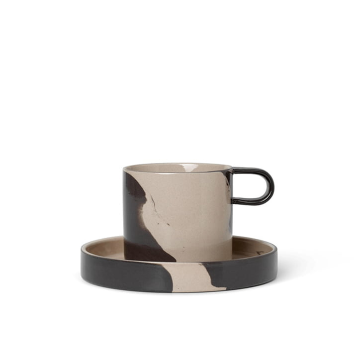 Inlay Stoneware mug with plate by ferm Living in sand / brown