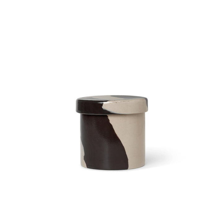 Inlay Stoneware container Ø 9,8 cm by ferm Living in sand / brown