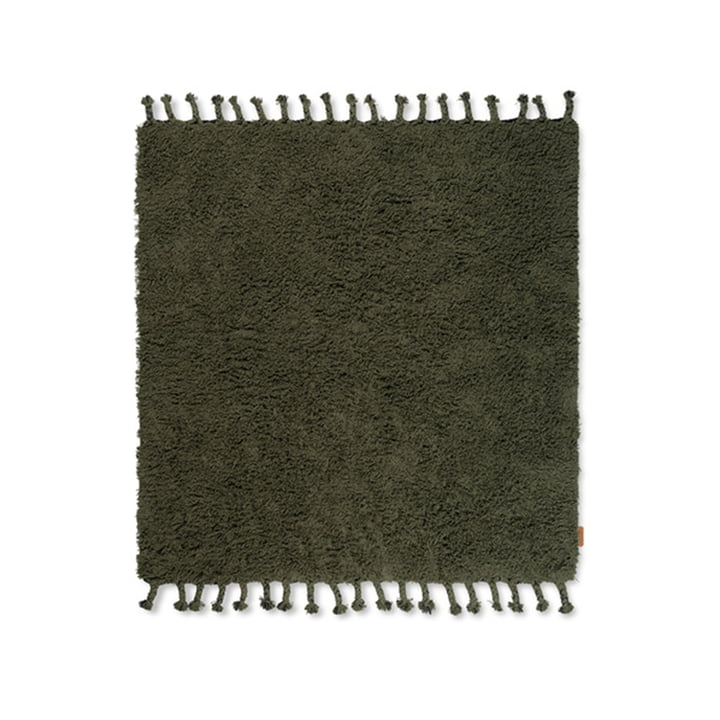 Amass High pile carpet 140 x 140 cm from ferm Living in olive