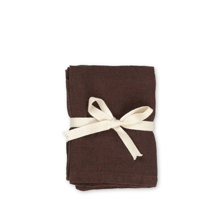 Linen napkins 45 x 45 cm by ferm Living in chocolate (set of 2)