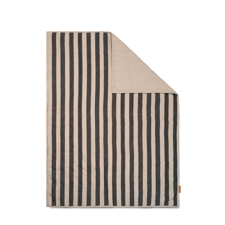 Grand Blanket 120 x 170 cm by ferm Living in sand / black