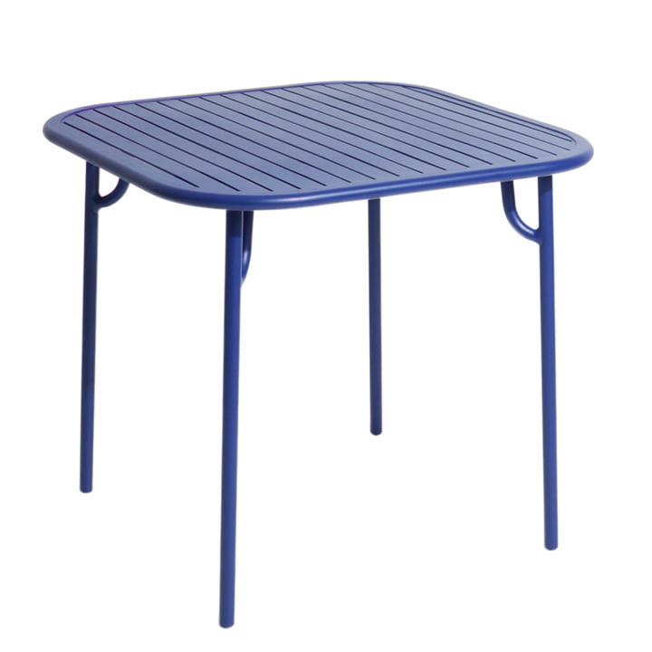 The Week-End table from Petite Friture , 85 x 85 cm / blue