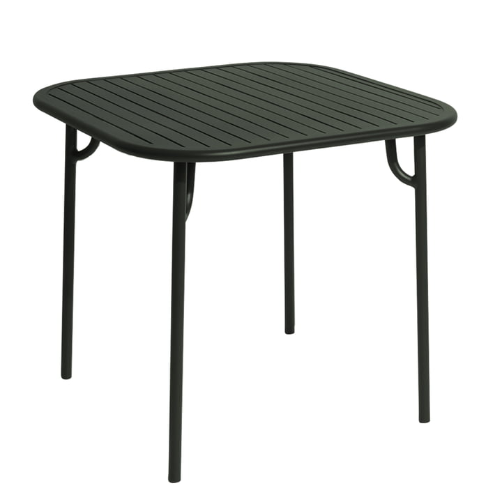 The Week-End table from Petite Friture , 85 x 85 cm / glass green