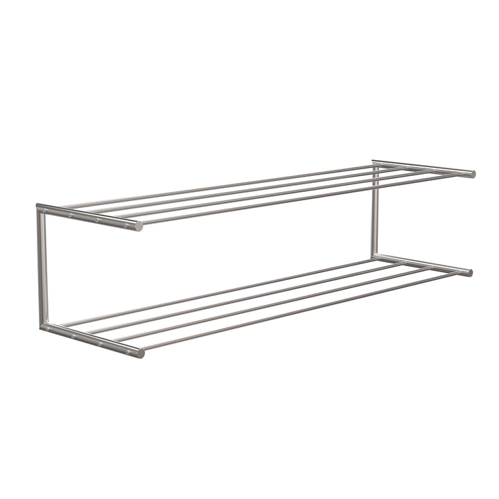 The Nova shoe rack 2 from Frost , 100 cm, brushed stainless steel