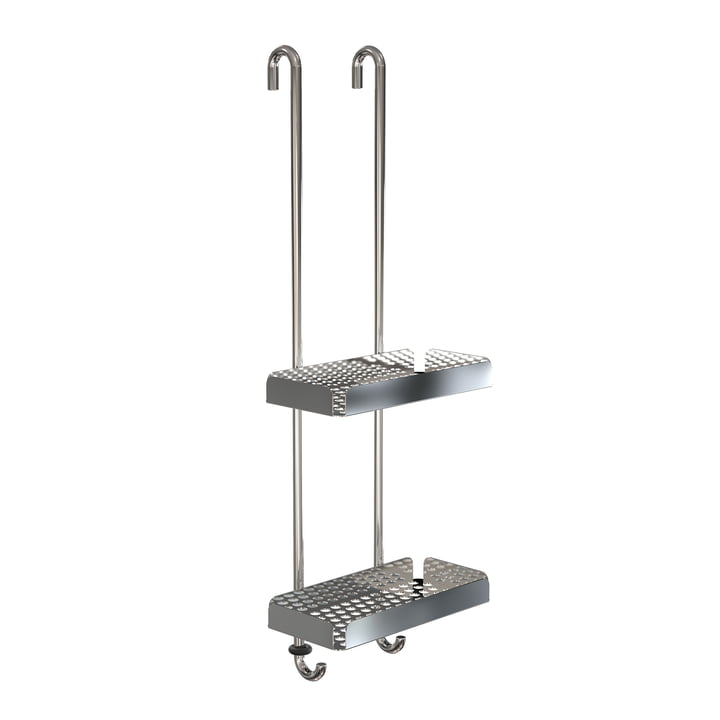 The Nova2 shower tray to hang double from Frost , polished stainless steel