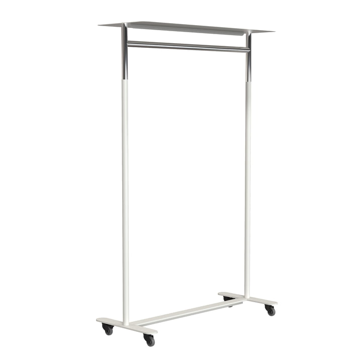 The Bukto clothes rack with castors and shelf 100 cm from Frost , polished stainless steel / white