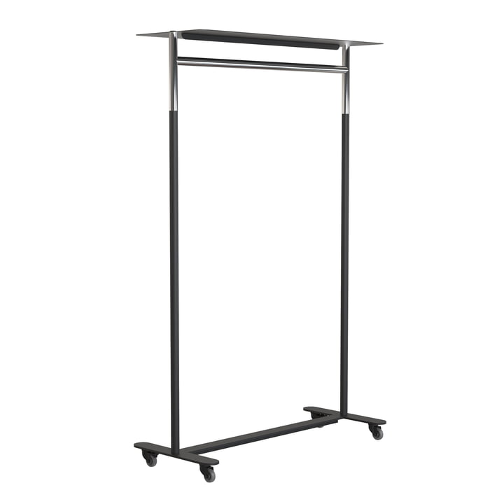 The Bukto clothes rack with wheels and shelf 100 cm from Frost , polished stainless steel / black
