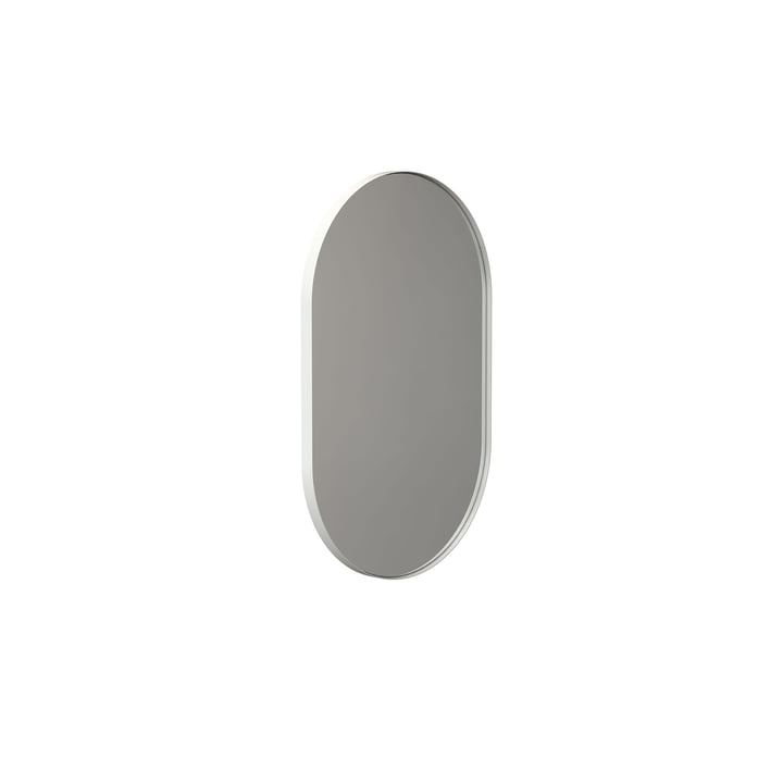 The Unu wall mirror 4138 from Frost , with frame oval, 50 x 80 cm, white