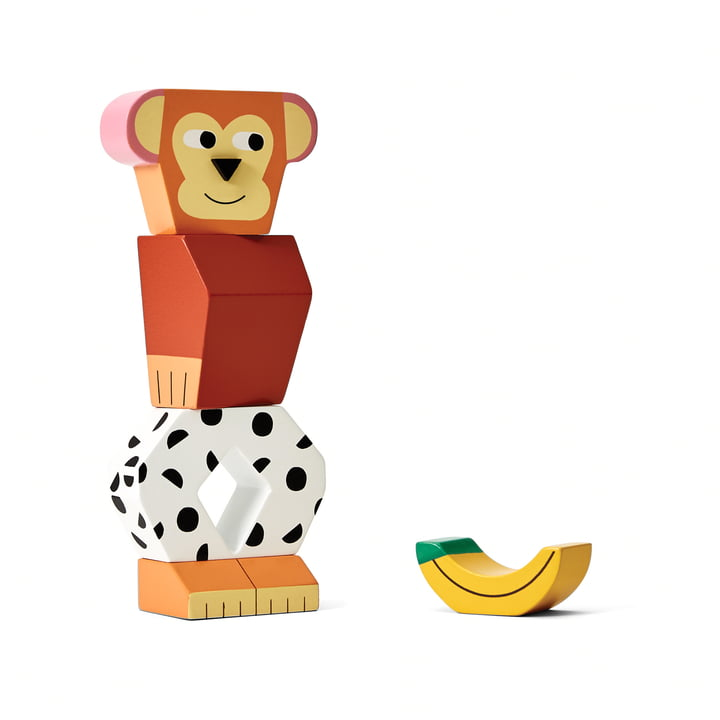 Block Party Wooden toy from Areaware in the variant monkey