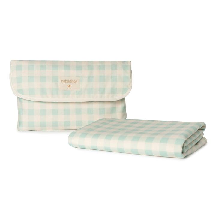 The Sunshine picnic blanket from Nobodinoz, 140 x 140 cm, opaline vichy