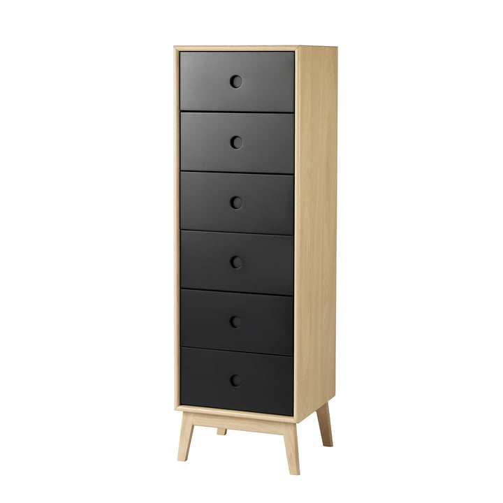 F23 Butler Chest of drawers from FDB Møbler in natural lacquered oak / black
