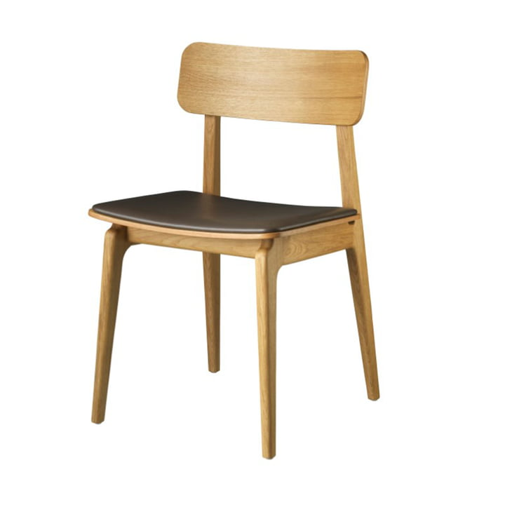 J175 Åstrup Chair from FDB Møbler in natural oak / brown leather
