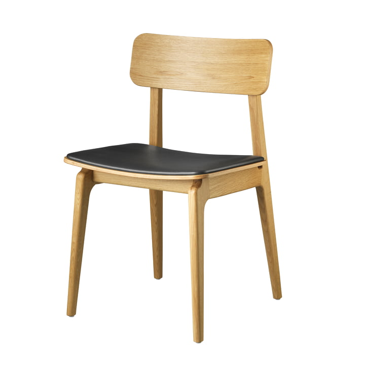 J175 Åstrup Chair from FDB Møbler in natural oak / black leather