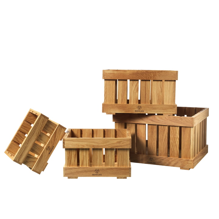 X1 Apple Box Fruit crate from FDB Møbler in natural oak (set of 4)